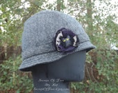Tweed Hat with Reversable Strap and an Owl inside a purple fabric with fishnet Flower