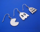 For Betty 3x Silver Pac Man Earrings , Hand Made Solid Silver Jewelry Jewellery