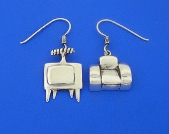 Silver Television and Chair Earrings , Hand Made Solid Silver
