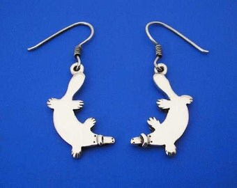 Silver Platypus Earrings , Hand Made Solid Silver