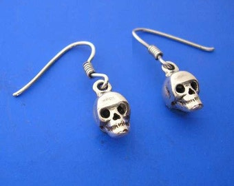 Silver Skull Earrings , Hand Made Solid Silver