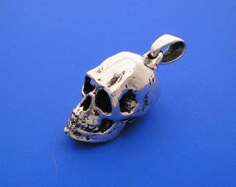 Silver Skull Pendant , Hand Made Solid Silver