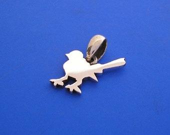Silver Blue Wren Bird Pendant, Hand Made Solid Silver