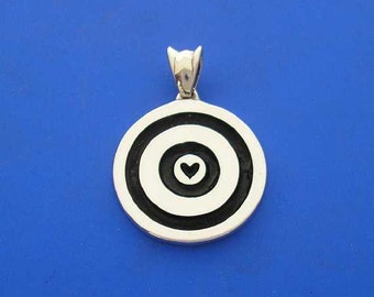 Silver Heart Love Target Pendant , Hand Made Solid Silver