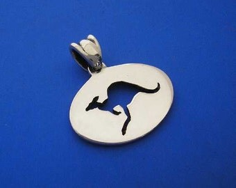 Silver Kangaroo Pendant , Hand Made Solid Silver