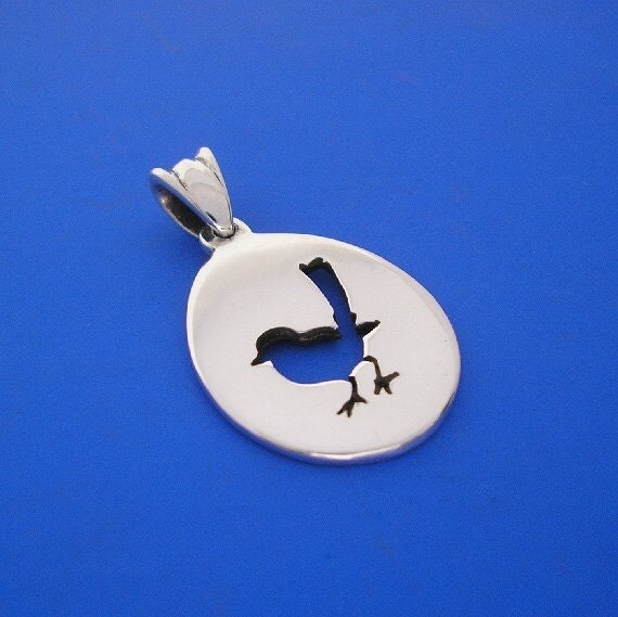 Silver Wren Bird Pendant , Hand Made Solid Silver Jewelry Jewellery