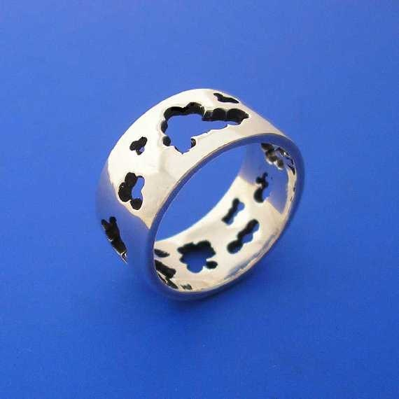 Silver Cloud Ring , Hand Made Solid Silver Jewelry Jewellery