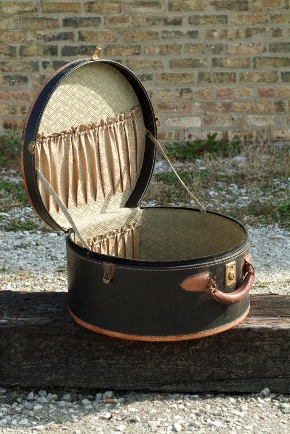 Vintage Round Suitcase Luggage Piece By Bestwehavefinethings