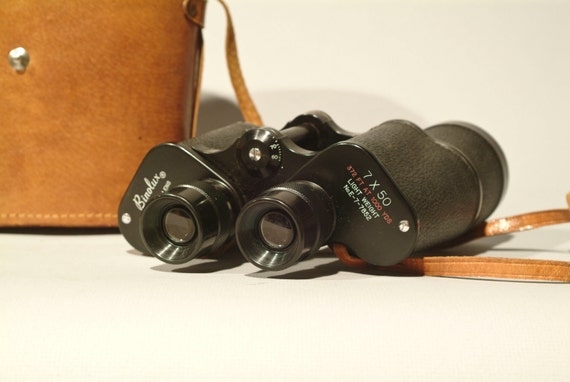 Vintage Binolux 7x50 Binoculars with Very Nice Leather Case that Includes a Compass