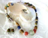 Africa Krobo Glass Bead Necklace and Earring Set