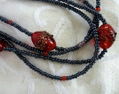 "Multistrand Seed Bead & Czech Glass Necklace - ""Evening Romance"""