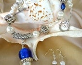 "Silver, Cobalt Blue and White Pearl Necklace with Matching Pendant and Earrings - ""Royal Elegance"""