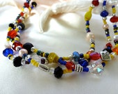 "Triple Strand Yellow and Navy Seed Bead, Red Crystal and Pearl Necklace - ""Mardi Gras"""