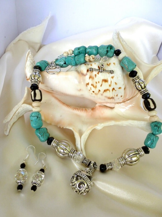 """Blue Turquoise, African Bone and Crystal Necklace with Pendant and Earrings - """"Sand and Sea"""""""