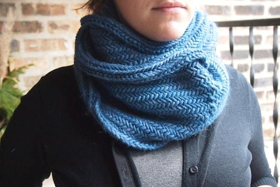 Herringbone Infinity Scarf Knitting Pattern : Hand Knit Scarf Herringbone Cowl Blue by greeneyesknits on ...