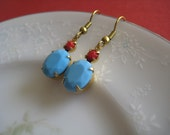 Vintage Glam Earring Collection: Vintage Cherry Red Swarovski Matte Crystal & Turquoise Glass Dangle Earrings on Antique Gold French Hooks