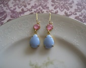 Vintage Glam Earring Collection: Vintage Periwinkle Blue Pear Glass Dangle Earrings with Pink Moonstones on Small Gold Kidney Wires