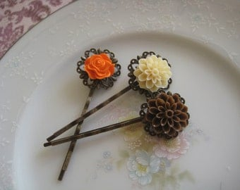 Harmony: Vintage Inspired Set - Dark Brown & Cream Ivory Dahlia Flowers with Orange Tangerine Rose on Antique Bronze Filigree Bobby Pins