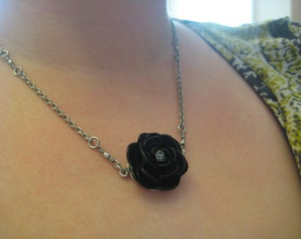 "Ebony: Swarovski Crystal Black Rose Flower Necklace on 19"" Silver Chain. Very High Quality."