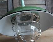 Industrial Caged Enamel Pendant
