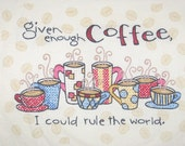Coffee Cross Stitch, Handmade and Made to Order