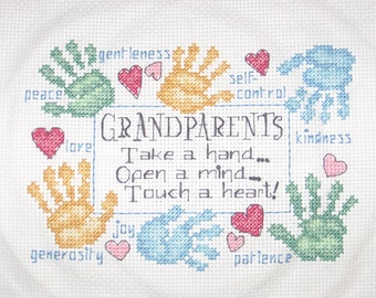 Grandparent or Godparent Virtues Cross Stitch, Handmade and Ready to Ship