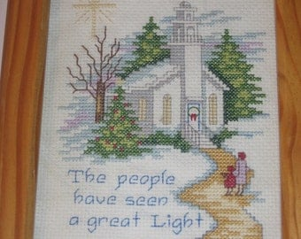 Country Church at Christmas, Cross-stitch, Handmade and Ready to Ship