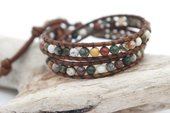 Double leather wrap bracelet with 4mm Ocean Jasper round beads and silver plated button.  Wrap leather bracelet. WSR2v007