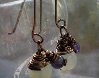 Purple and light green wire wrapped earrings