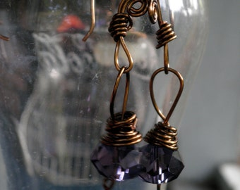 Black Friday / Cyber Monday - Purple crystal beads wrapped with antique looking wire