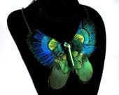 Feather Butterfly Necklace, Peacock Feathers, Dichroic Glass,  Blue, Green Pheasant, OOAK