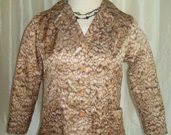 Vintage womens jacket blazer dressy 70s lightweight silky print Spring Fall copper brown beige
