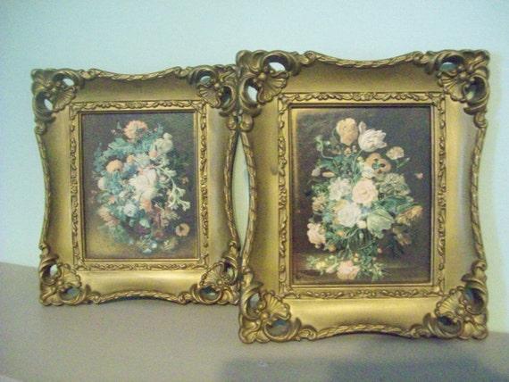 Vintage Framed Flowers By Truart Turner Mfg Co