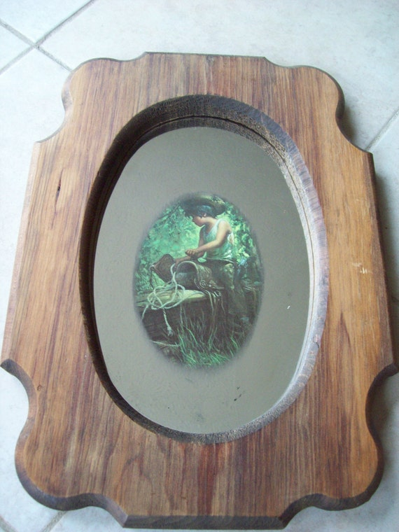 Vintage mirror art boy with saddle wood frame by The Woodsmen