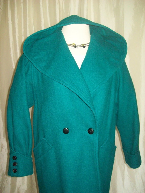Vintage turquoise coat Worthington wool with hood - RESERVED FOR MARION