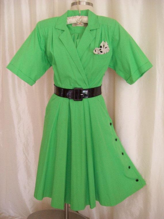 Vintage Liz Claiborne dress 80s shirtwaist green