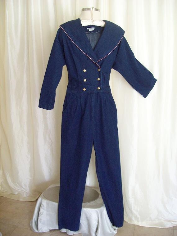 Vintage womens denim jumpsuit nautical shawl collar