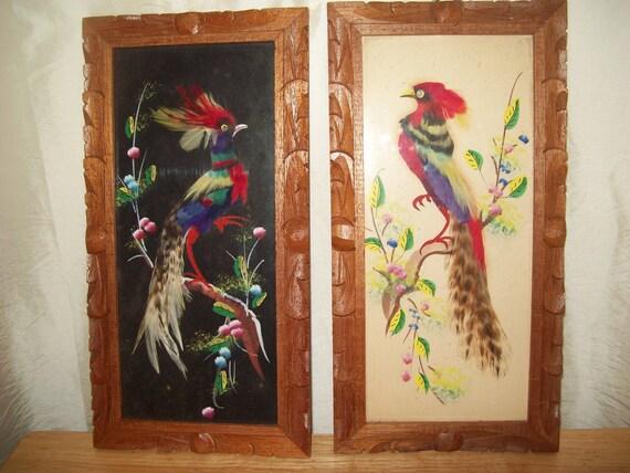 Vintage 60s framed feather birds peacocks set of four