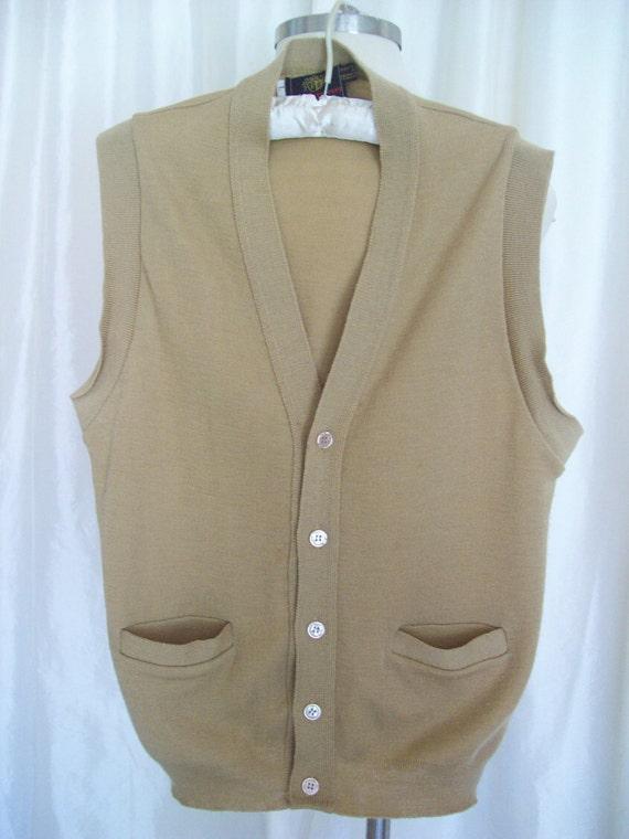 Vintage mens sweater vest 80s hipster camel