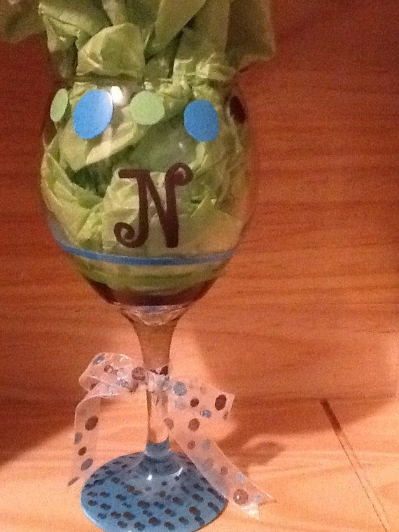 Personalized hand painted wine glass with n by brandiedmonds for Painted wine glasses with initials