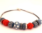 hand made round colorful beads Statement necklace in blue jeans ,tangerine orange and white