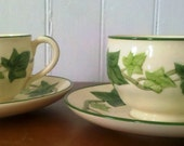 Franciscan Ivy Pair of Teacups and Saucers Rustic Vintage