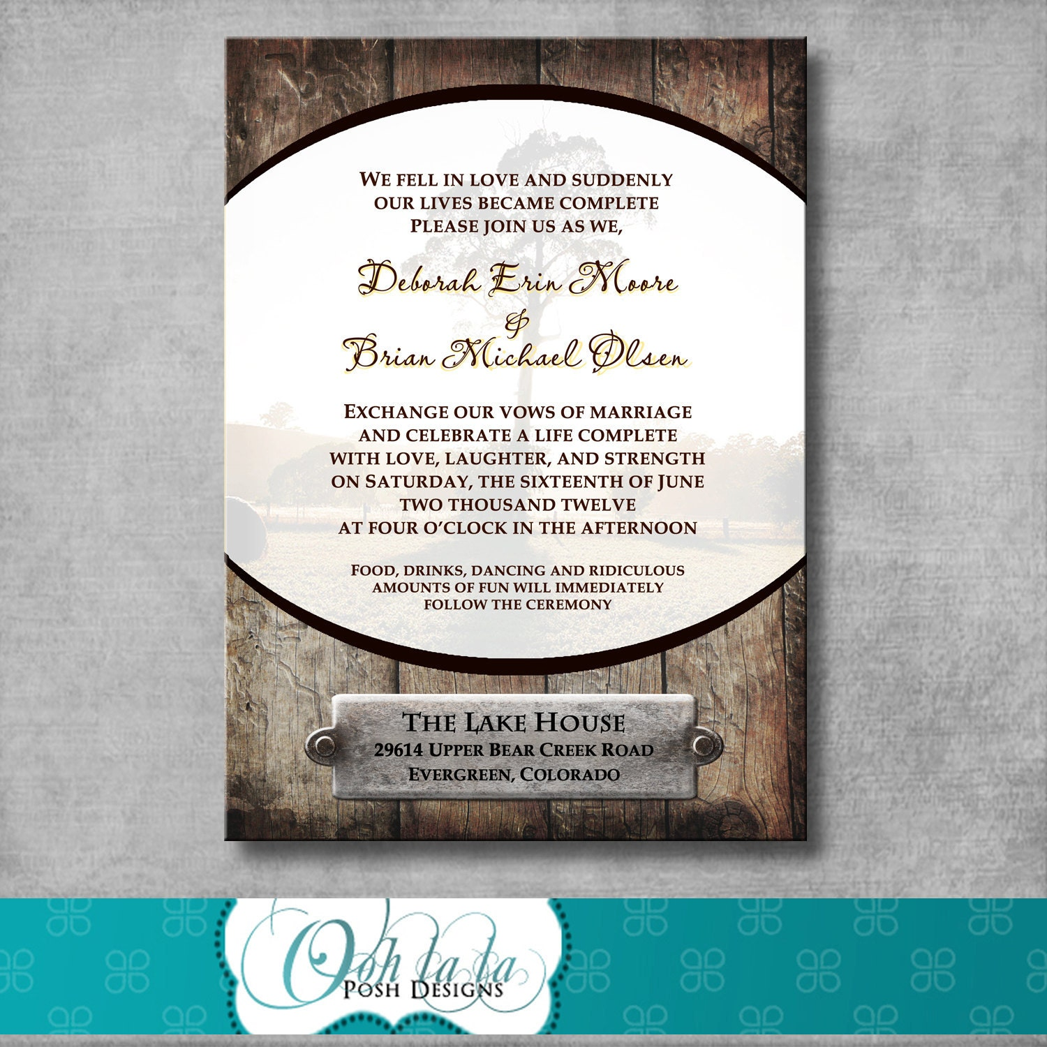 Printable Rustic Wedding Invitation DIY By OohlalaPoshDesigns