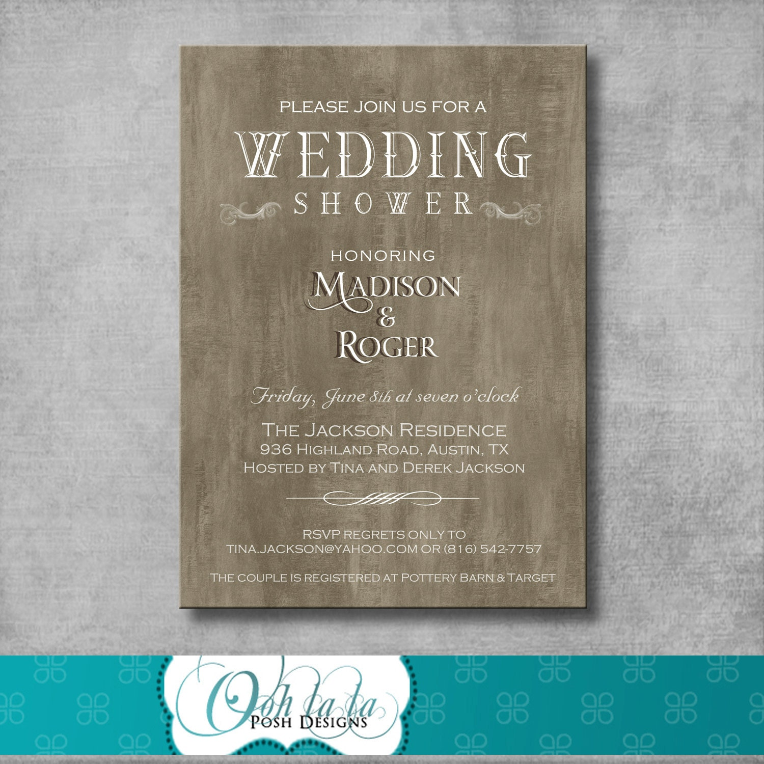 Rustic elegant wedding shower invitation by oohlalaposhdesigns for Invitations for wedding shower