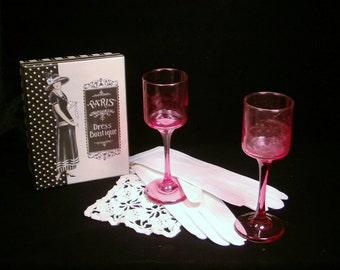 Sassy Vintage Partylite Pink Glass Pedastal Votive Holders (2)