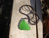 bright green sea glass leather necklace