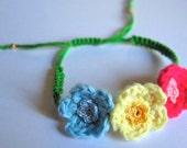 crochet flower friendship bracelet
