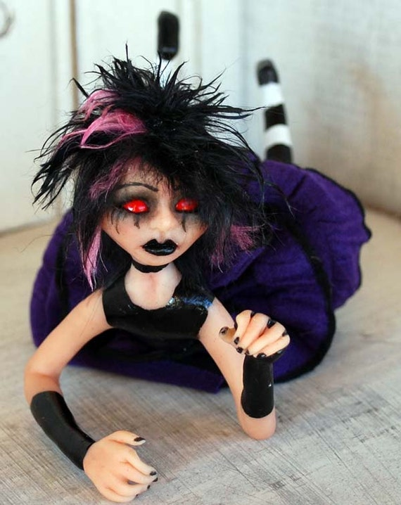 RESERVED   - OOAK Polymer Clay Handsculpted Gothic Art Doll