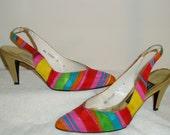 Vintage 80s Stuart Weitzman Multi-Color Slingback Shoes - Size 6 B - Sale