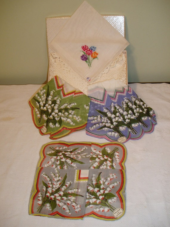 Vintage 50s Floral Handkerchief - Hand Rolled in the Philippines -